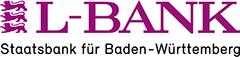L-Bank-Schriftzug in Großbuchstaben mit drei nebenstehenden Stauferlöwen